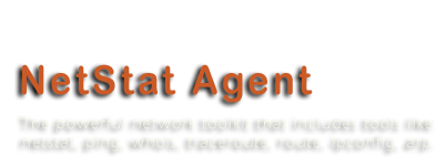 NetStat Agent 2.0 - The powerful network toolkit that includes tools like: netstat, ping, whois, traceroute, route, ipconfig, arp.