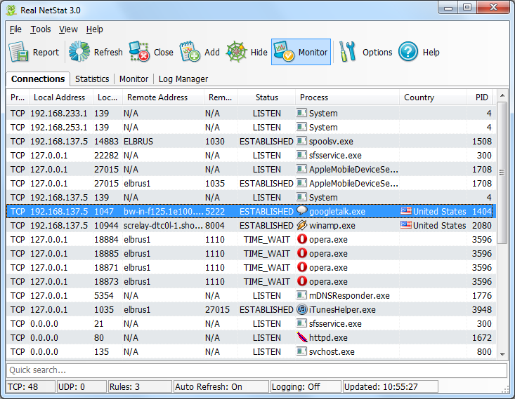 Screenshot of Real NetStat